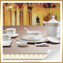 Wholesale gold cutlery, bone china plate, opal ware dinner set