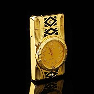 Multifunction Cigarette Lighter Gold Quartz WristWatch Watch For Men, Windproof Jet Torch Flame Butane Gas Lighter
