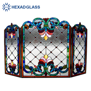 HEXAD high quality Tiffany Stained Glass Fireplace Screens for decorative glass with low price