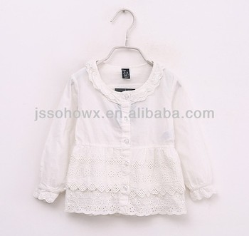 6ace6d72257f Baby Girl Plain White Lace Shirts