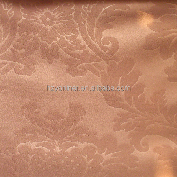 100% Poly restaurant golden embossed fabric curtain, used for hotel embossed fabric