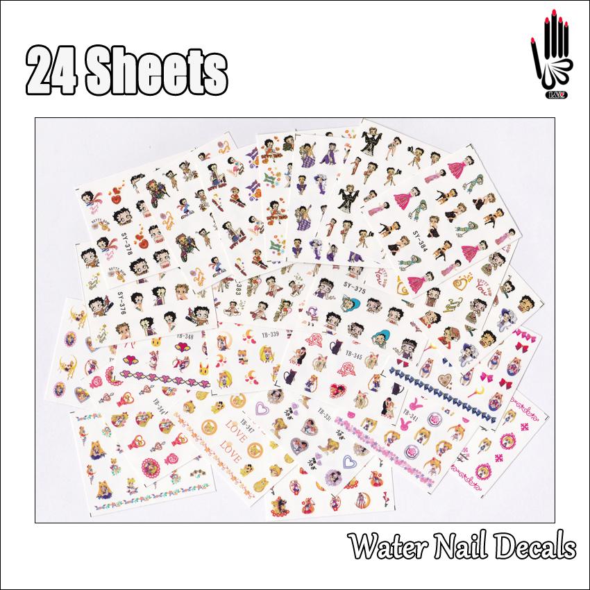 Betty Boop Nails: Nail 24Sheets/Lot Mixed 24 Designs Betty Boop And Sailor