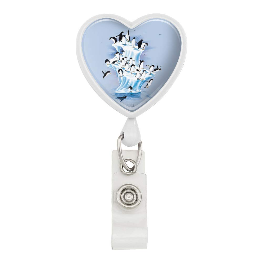Emperor Penguin Iceberg Antarctic Heart Lanyard Retractable Reel Badge ID Card Holder - White