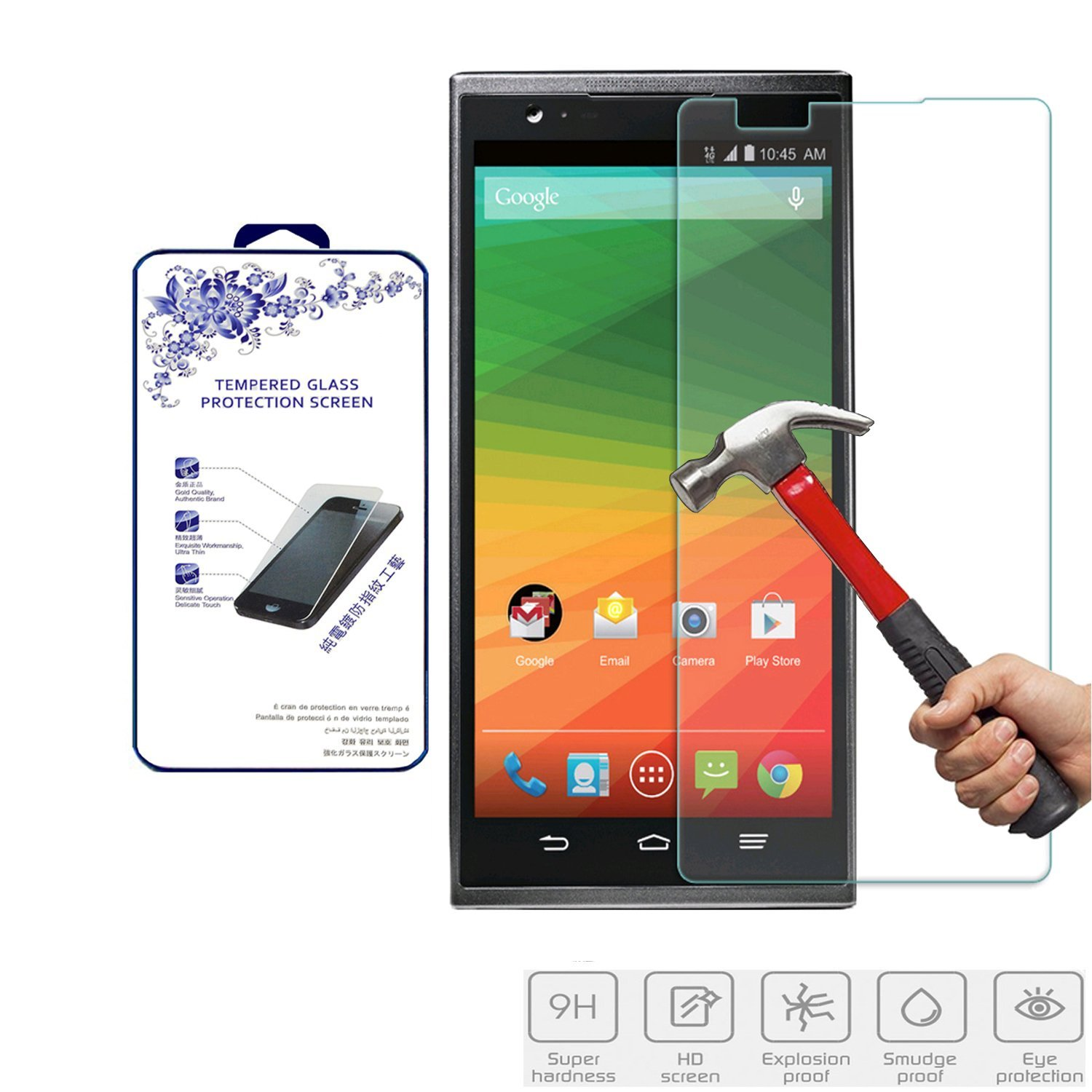 For ZTE ZMax Z970 Tempered Glass,Nacodex® 9H Hardness Premium Tempered Glass Screen Protector Real Explosion-proof 0.3mm 2.5D (For ZTE ZMax Z970)