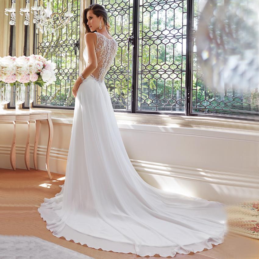 Aliexpress Com Buy Simple Elegant See Through Lace Part: Vnaix WV021 Simple But Elegant Formal A Line V Neck See