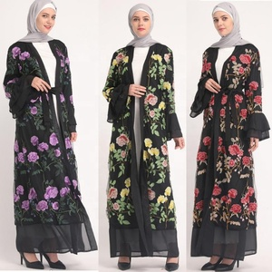 Fashion floral open abaya beautiful dubai embroidery modern islamic clothing