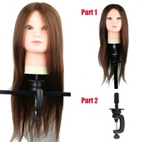 Professional Salon Hairdressing Training Head 100% High Temperature Synthetic Hair Practice Mannequin Head with Wig Head Holder