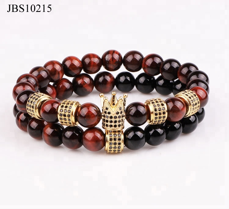 new fashion gemstone <strong>red</strong> <strong>tiger</strong> <strong>eye</strong> diamond crown charm beaded stretch <strong>bracelet</strong>