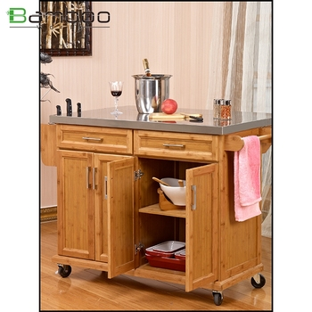 modern design high quality bamboo food kitchen trolley with adjustable shelf