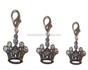 Crown Shape Dog Charm Shiny Metal Diamond Decoration