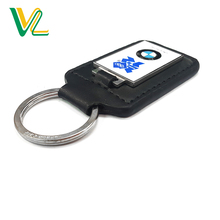 Manufacture Good Quality Zinc Alloy Car Brand Nickel color Leather Car Key Ring For man