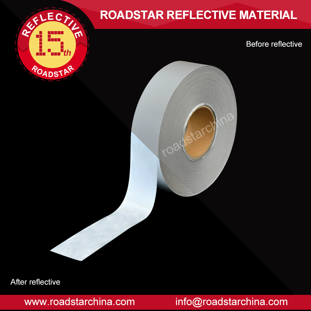 High Visibility 100% polyester reflective silver-grey coated fabric strip for jacket