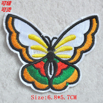 Factory wholesale embroidered butterfly applique/patch for clothing
