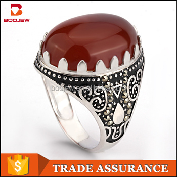 Wholesale islamic 925 sterling silver pink gemstone rings for muslim men