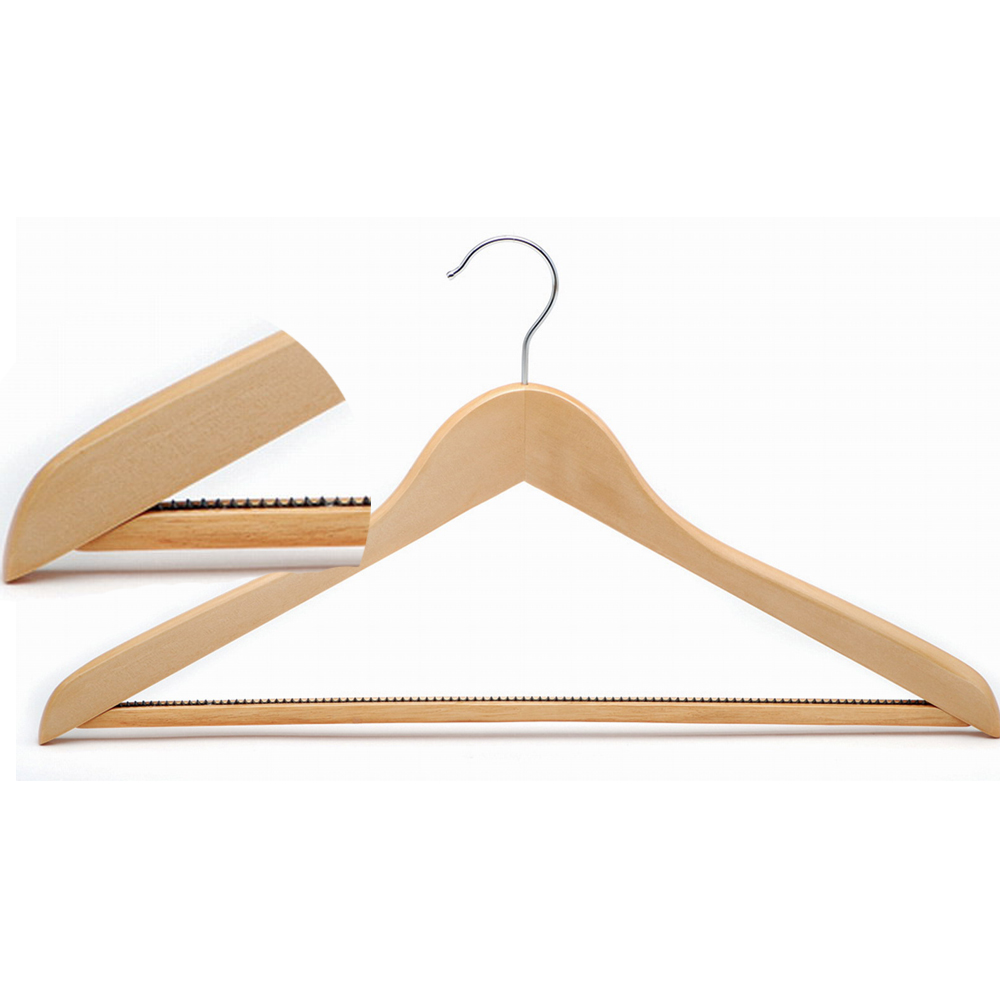 Chrome metalwork Anti-slip trouser bar and also additional skirt notches 45 cm width wooden hanger