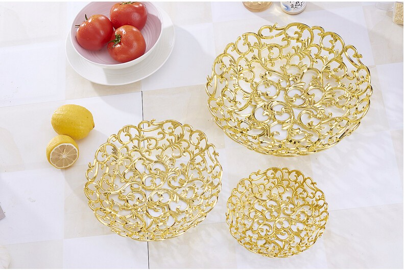 Decorative Plastic Trays & Decorative Plastic Trays Hollow Ou Fruit Plate With Gold Plating ...