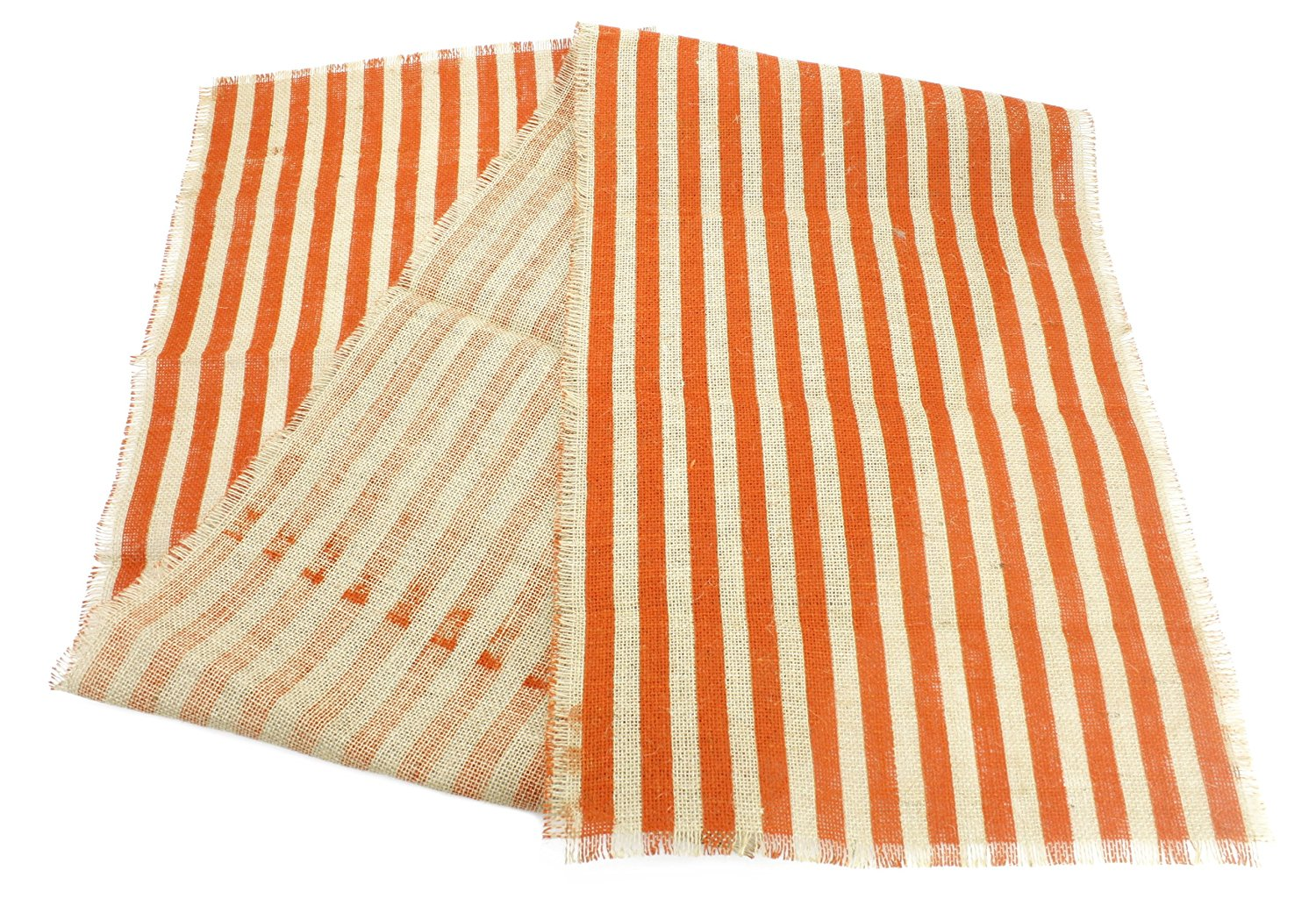 15-Inch-by-72-Inch Striped Burlap Table Runner, Natural + Orange