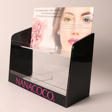 Kwaliteit make-up stand custom <span class=keywords><strong>acryl</strong></span> display met hot stamping <span class=keywords><strong>folie</strong></span> Rose Gold logo