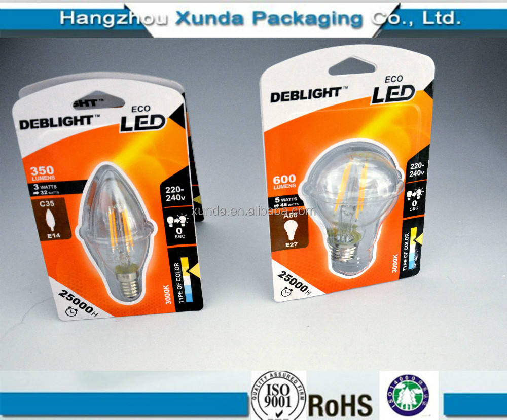 High quality led bulb packaging transparent