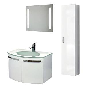"""Nameeks CD17 ACF 27-3/5"""" Wall Mounted Vanity Set with Wood Cabinet, Glass Top wi, Glossy White"""