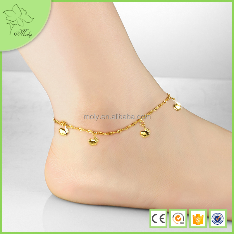 accessories fashion gold four real chain store summer ms anklet beads beach product plated models