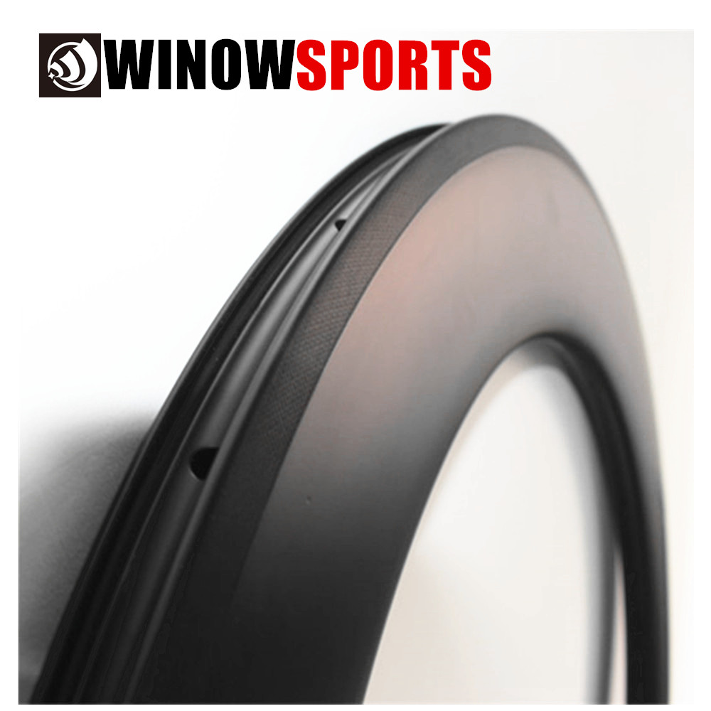 Racing High Stiffness 700c Road Carbon Rims 88mm Clincher Tubeless 25mm Wide U Shape Carbon Bicycle Rim WL-R88-25C