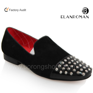 Good quality suede loafer men spike shoes