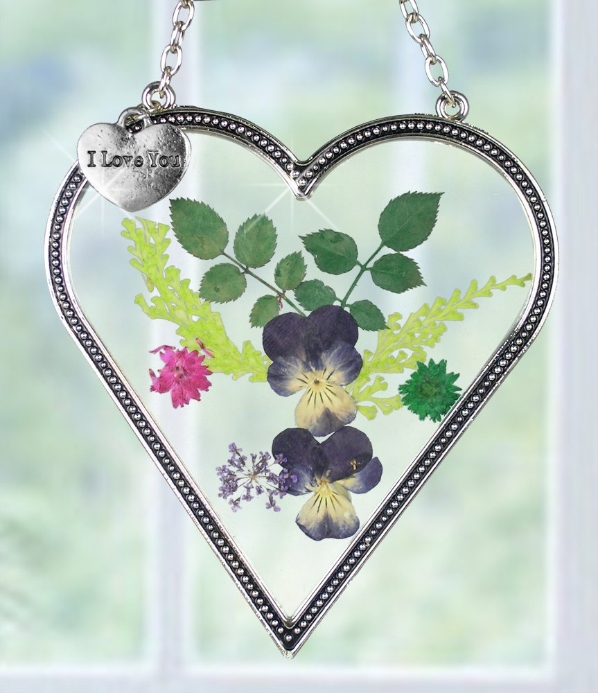 BANBERRY DESIGNS I Love You - Heart Sun Catcher - Pressed Flowers Suncatcher with I Love You Hanging Charm