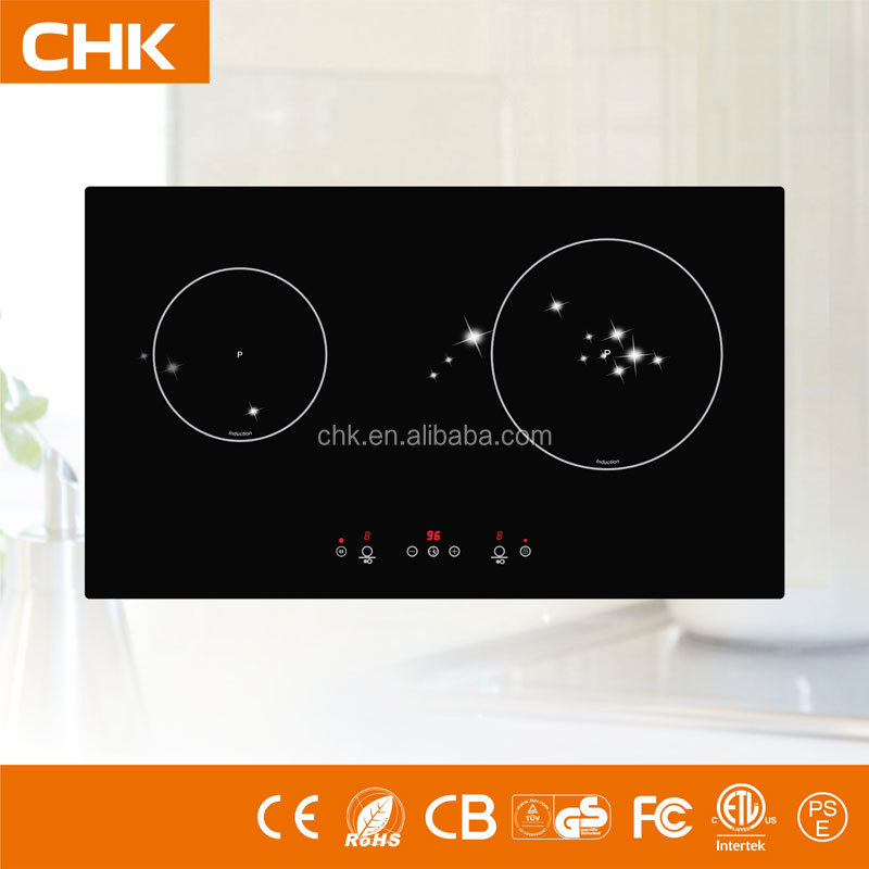 Built in Cooktop 730*430*56mm Big crystal size Double Head Induction Cooker