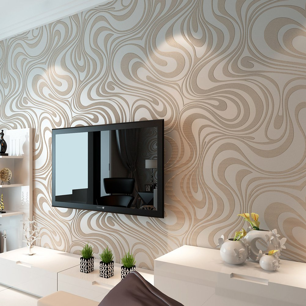 Hanmero Modern Luxury Abstract Curve 3d Wallpaper Roll Mural Papel De Parede Flocking for Striped Cream-white&silver Color Wallpaper 0.7m*8.4m=5.88