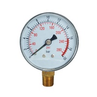 Y60 bottom 63mm general pressure gauge with 20 bar and psi dual scale