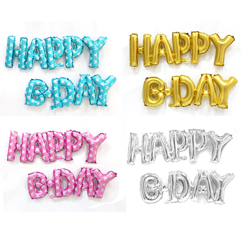 Conjoined Happy Birthday Balloon Party Decorations Golden Silver Letter Foil Balloons Baby Shower Decor Party Supplies