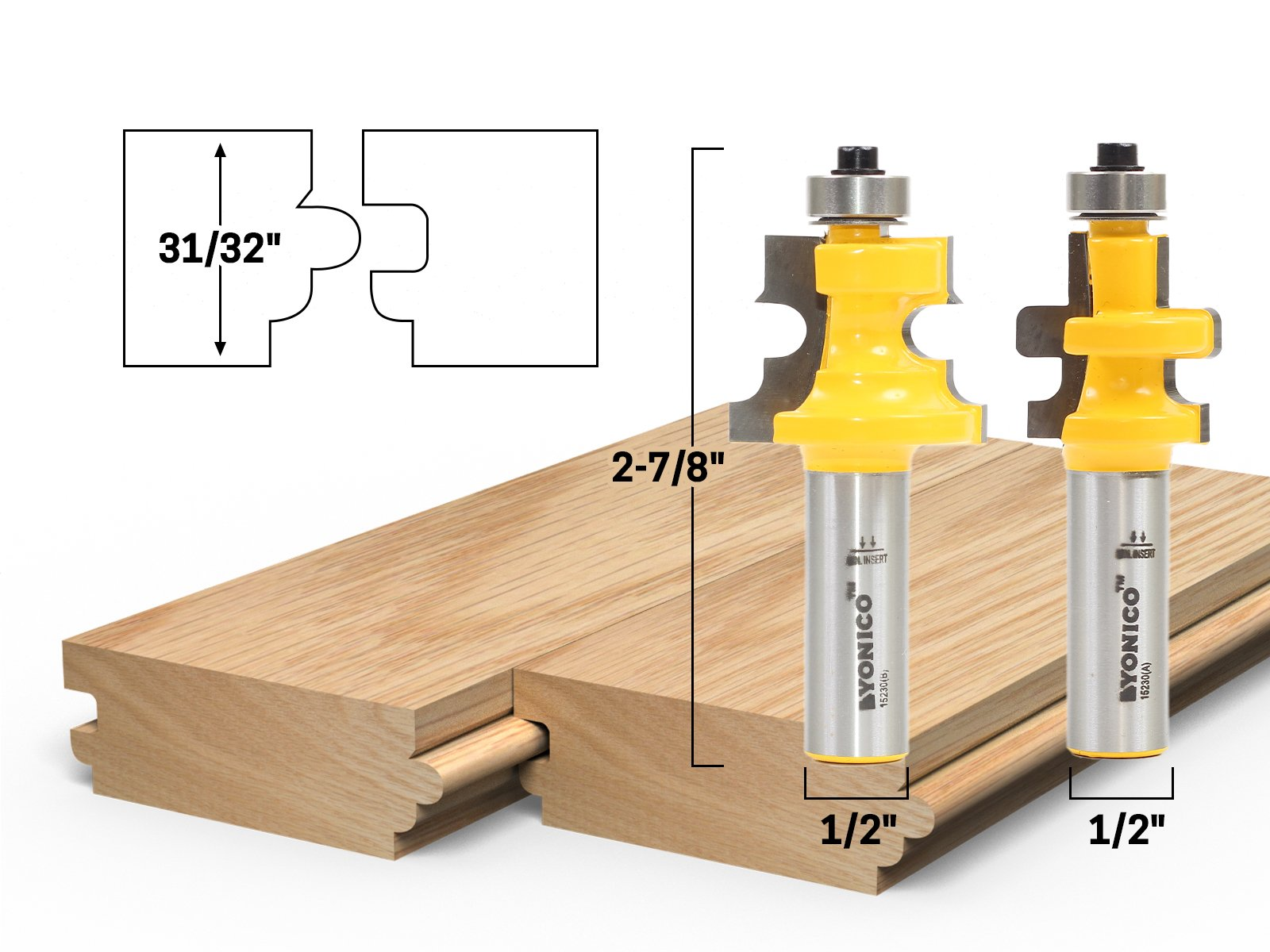 """1//4/"""" Shank Yonico 15228q 3//4/"""" 2 Bit Tongue and Groove Router Bit Set"""