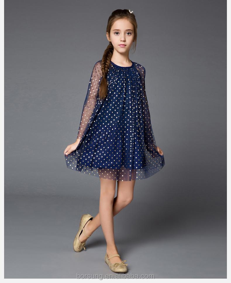 2015 Top Sales Casual Style Gauze Round Neck Children Dress Ruffle