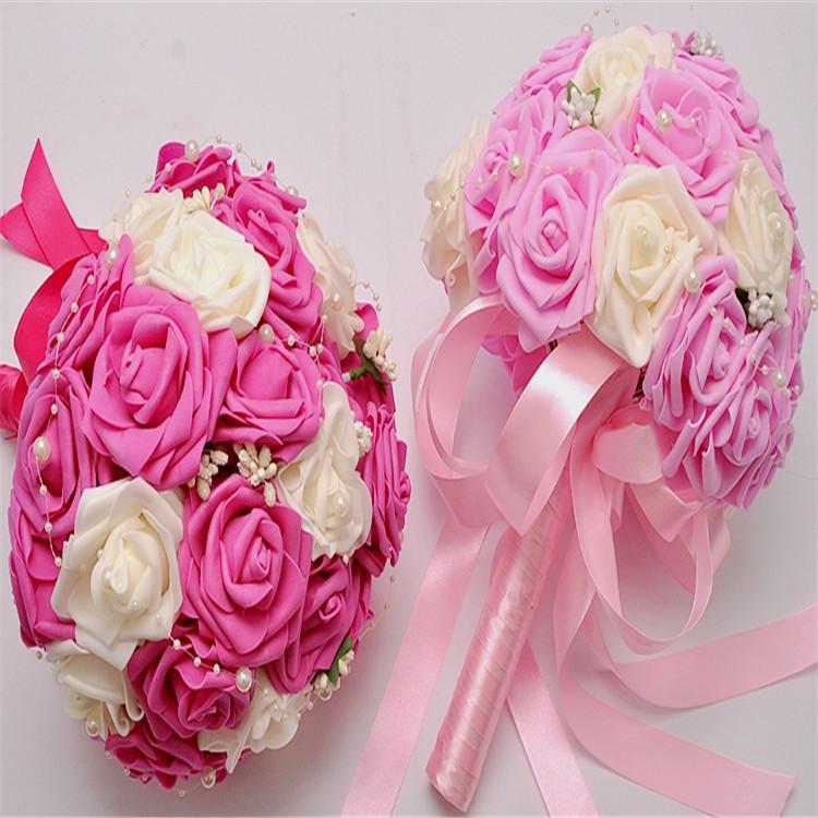 Лидер продаж 5 видов цветов заказ сделать фиолетовый белый половина шара жемчужина цепь искусственных ЧП Роза холдинг букет для свадьбы для свиданий партия