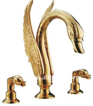 3 hole golden swan deck-mounted basin faucet