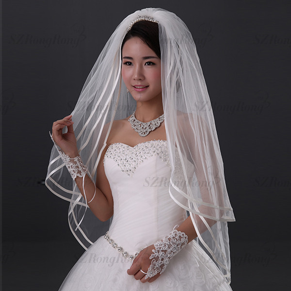 BV1566 2T Ribbon Trim Finger Length Bride Wedding Veil White or Ivory Bridal Veils