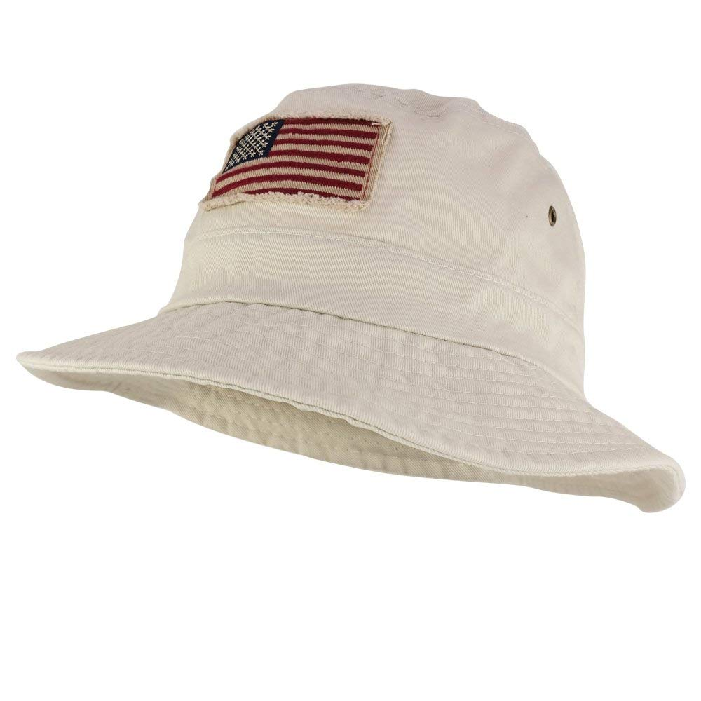 65f9c4c3d437 Get Quotations · Frayed USA Flag Washed Style Twill Cotton Bucket Hat