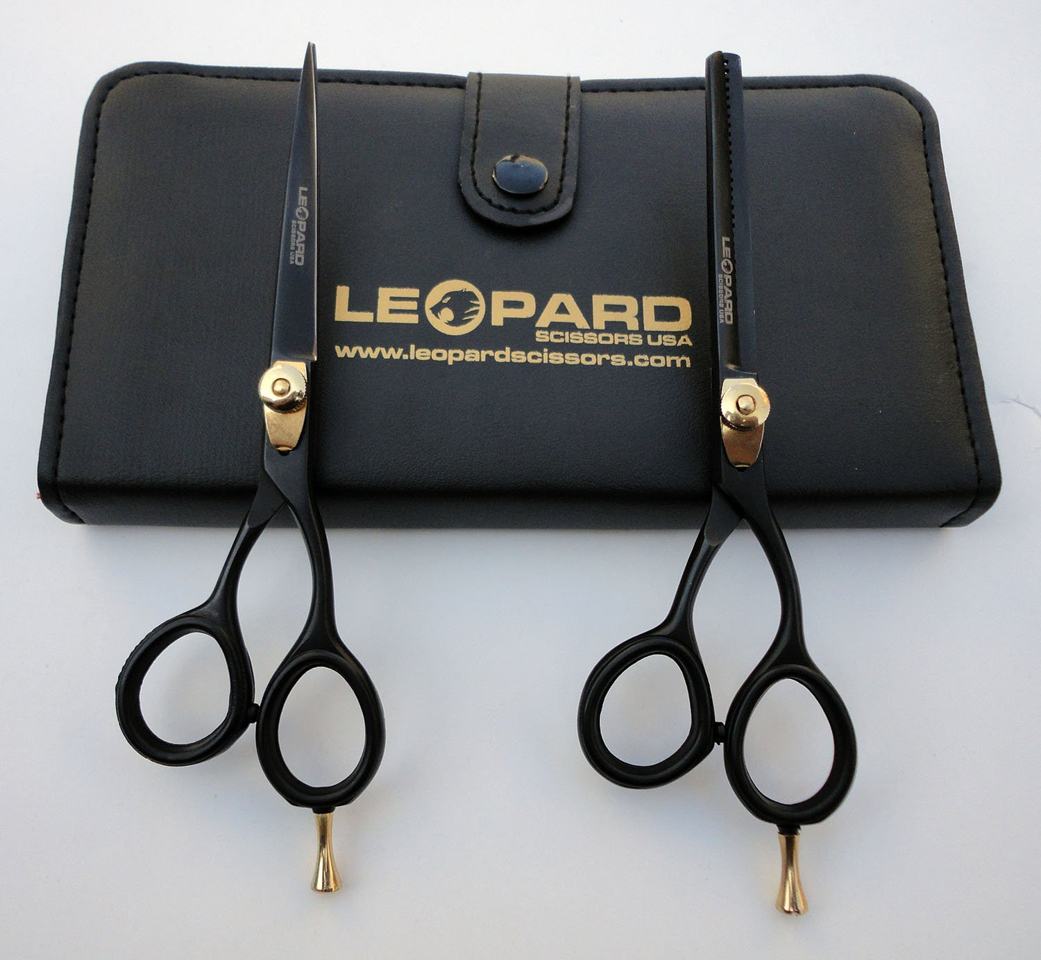 "Professional Hairdressing Right Hand Scissors & Thinner Hair Cutting Shears Barber Salon Styling Scissors Set 6.0"" Japanese Steel with Free Case Leopard Shears Bs-450"