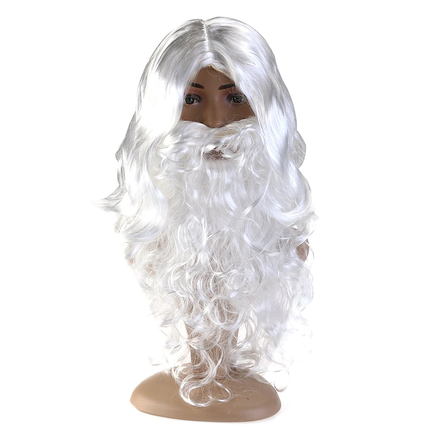 Fenical Christmas Santa Wig and Beard Set White Long Curly Hair
