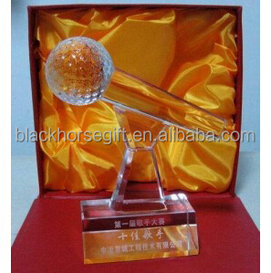 Cheap crystal hand trophy k9 high quality crystal microphone trophy