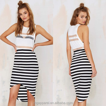 fa1d6278bc OEM black and white striped knit block high skirt two piece set bodycon low  midi skirt