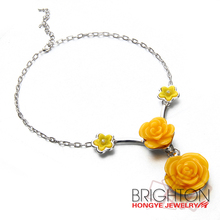 Fashion Yellow Resin Flower Necklace Jewelry N6-3830-4000-42.7