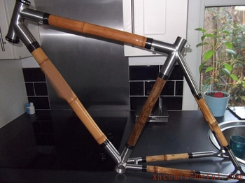Customed Titanium Road Bike Parts Combine Bamboo Bike Parts Design