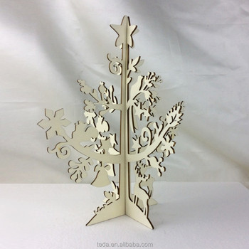 Gold Supplier Christmas Indoor Decorations Laser Carved Wooden Christmas Tree