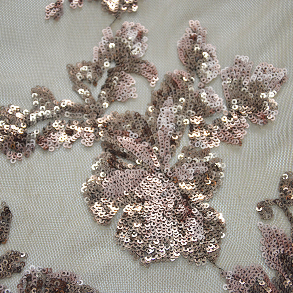 Coffee Mesh Sequin Embroidery Knit Fabric For Dresses