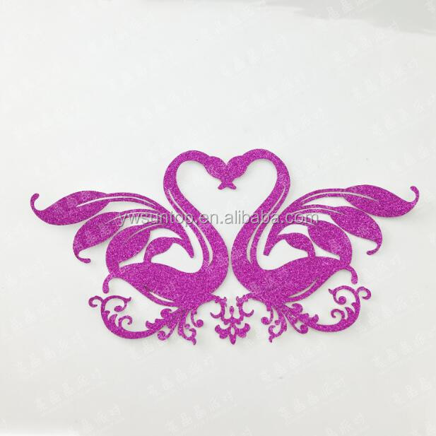 Attractive Swan Kiss Glitter Paper Cake Topper Wedding Party Cake Decoration