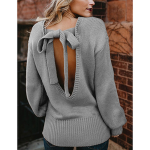 High Quality Autumn Winter New Listing Knitted Pullover Bow Tie Backless Woman Sweater