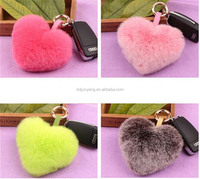 High quality rex rabbit fur heart shaped key ring bag and mobile phone pendant furry fur key chain
