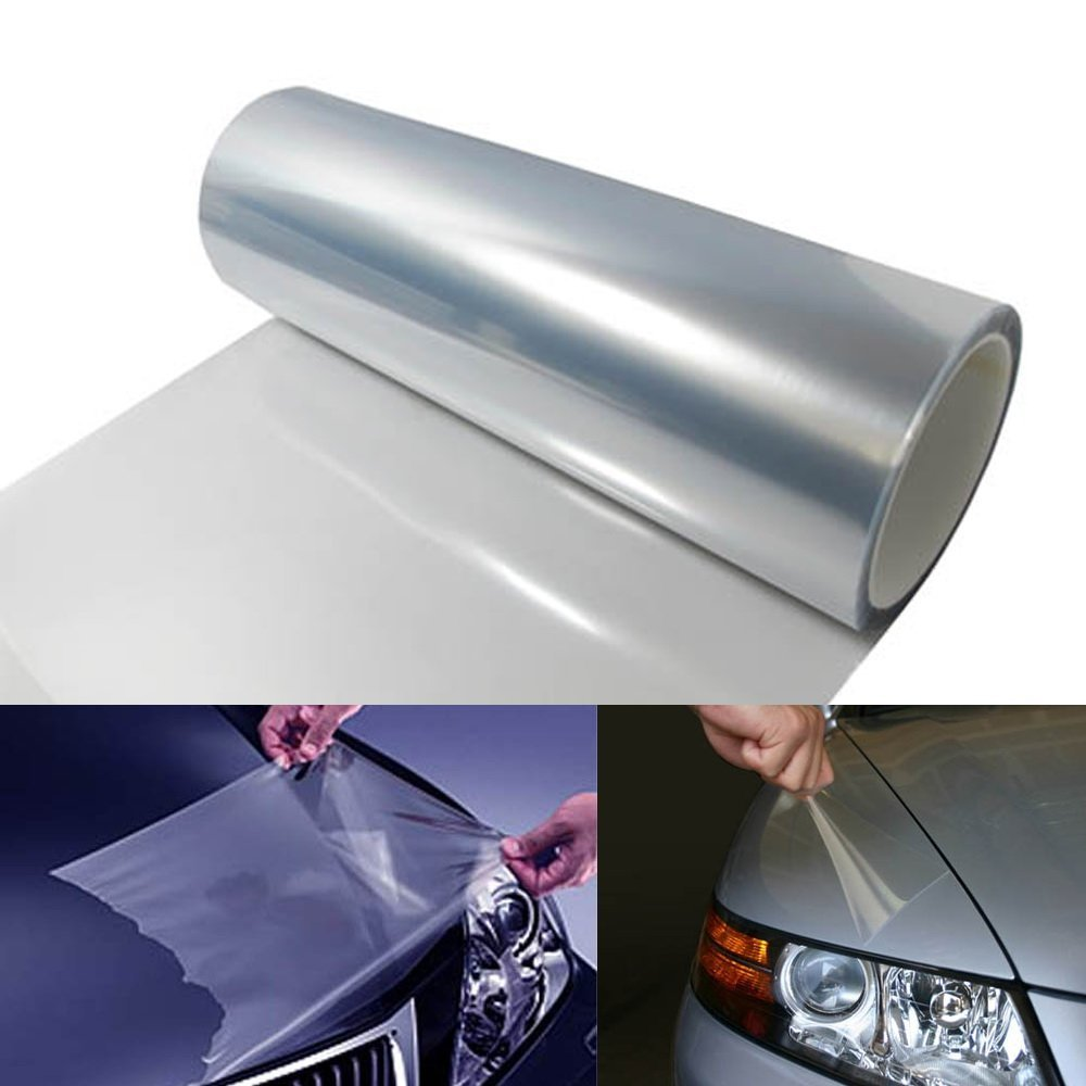 "iJDMTOY 12 x 48 inches Clear ""Invisible"" Paint or Scratch Protection Vinyl Film For Headlight, Tail Lights, Bumper, Hood Bonnet, etc"